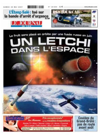 Le letchi dans l'espace, la une du Journal de l'Ile de la Réunion (JIR)