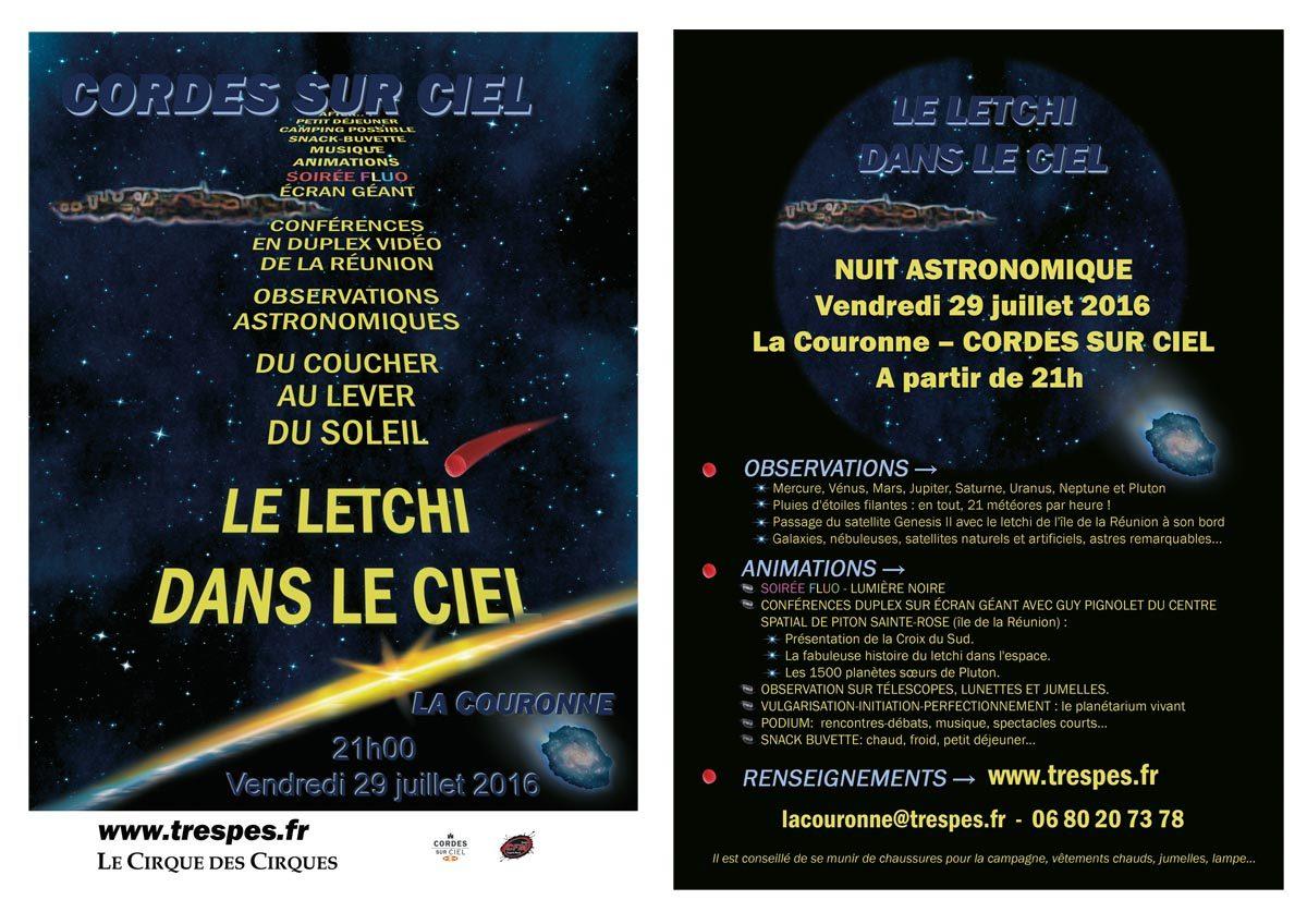 Nuit astronomique à La couronne - 29 juillet 2016 - CORDES SUR CIEL