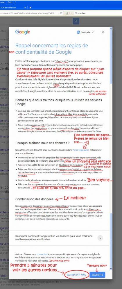 Accepter les règles de confidentialité de Google