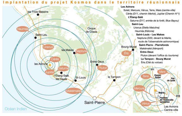 Carte de l'étendue du projet kosmos à la Réunion