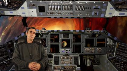 Skyroder - Le Capitaine Déhaut au poste de pilotage