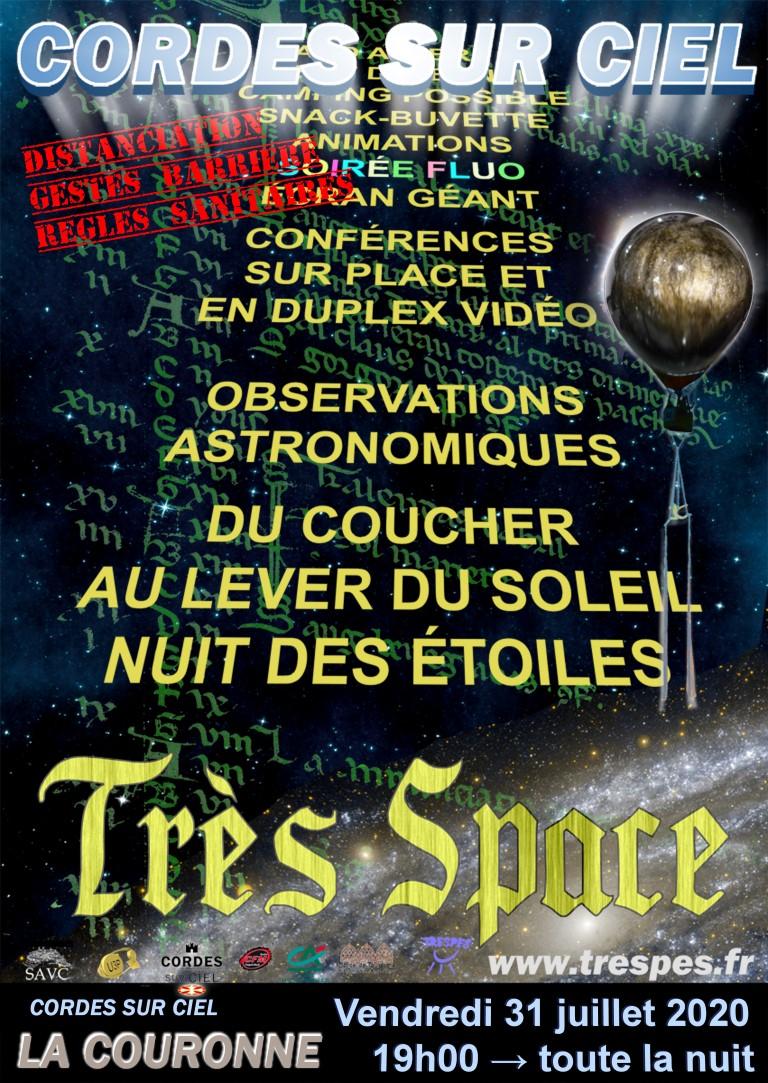 """Affiche """"Très Space 2020"""" à La Couronne - Cordes sur Ciel"""