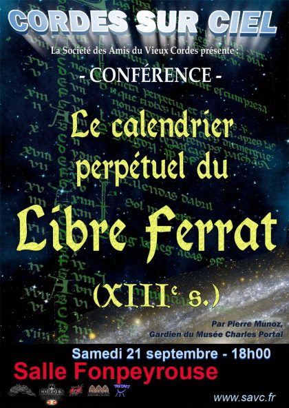 Affiche conférence Calendrier Perpétuel Libre Ferrat